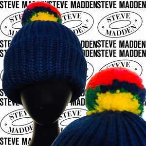 STEVE MADDEN Women's Rainbow Pom-Pom Winter Hat